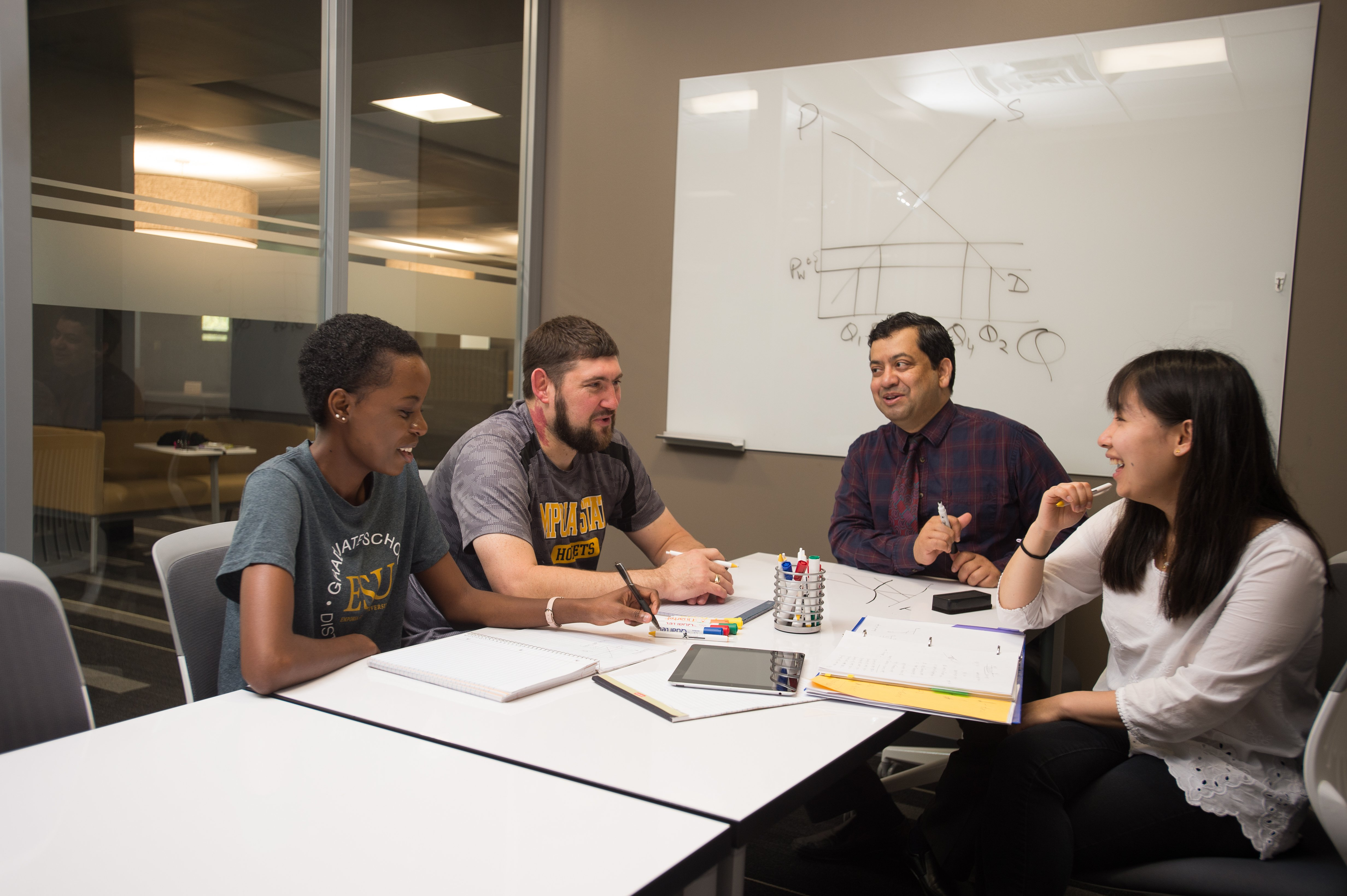Students meeting in a conference room
