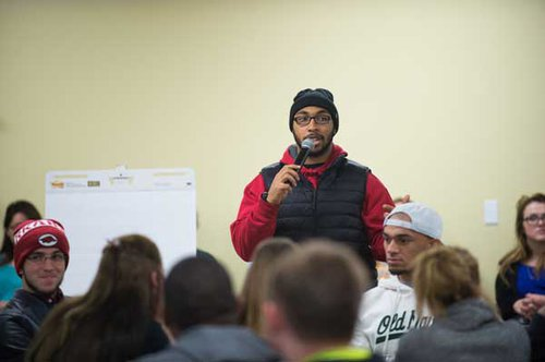 Emmanuel Cockrell, president of Black Student Union, encourages students at Emporia State University to speak about their experiences and thoughts on equity and inclusion.